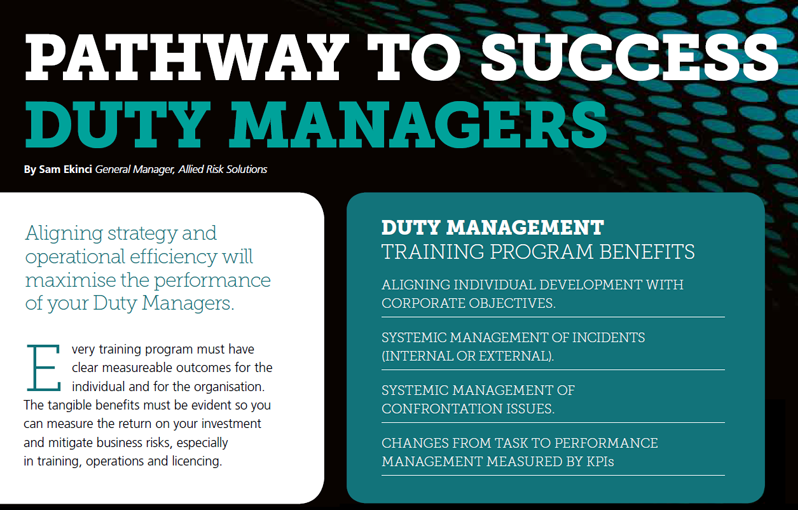Pathway to Success with Duty Managers - A training program that builds up Duty Managers with the skills and knowledge they need to step up to the position.